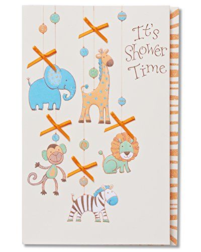American Greetings It's Shower Time Baby Shower Card with Glitter