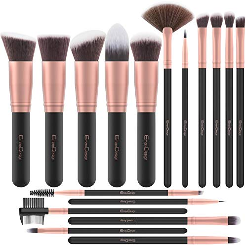 EmaxDesign Makeup Brushes 17 Pieces Premium Synthetic Foundation Brush Powder Blending Blush Concealer Eye Face Liquid Powder Cream Cosmetics Brushes Kit (Rose -