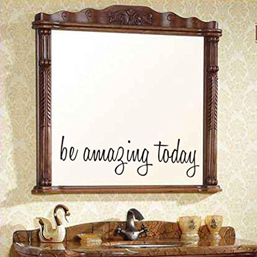 Jujunx Be Amazing Today Wall Sticker Decal Mural DIY Home Decor Removable Room Office Decor (Black)