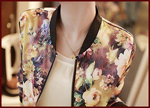 Coversolate Las mujeres 1PC colocan la chaqueta imprimida floral del bombardero de la cremallera larga de la manga verde del ejército