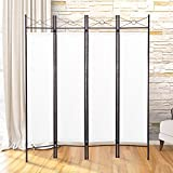 LAZYMOON White Room Divider 4-Panel Steel Screen