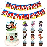 Ryan's World Birthday Party Supplies,Happy Birthday Banner - Cake Topper - Cupcake Toppers for Boy Girl Ryans World Theme Birthday Party Decorations