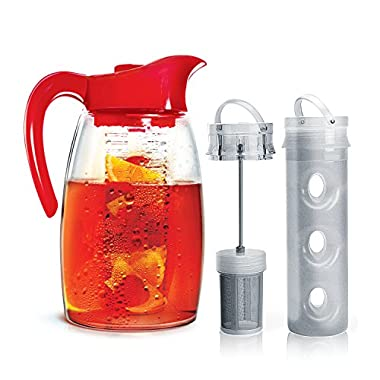 Primula Flavor-It Beverage System – Includes Fruit Infusion Core, Tea Infusion Core, and Chill Core – Dishwasher Safe – 2.9 Qt. – Red
