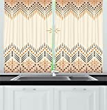 Geometric Decor Kitchen Curtains by Ambesonne, Vintage Primitive Aztec Native American Motif with Folk Art Effect Print, Window Drapes 2 Panels Set for Kitchen Cafe, 55W X 39L Inches, Peach Amber