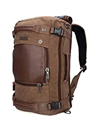 Canvas Backpacks Witzman Mens Duffel Leather Hiking Casual Travel Rucksacks A2021 (21 inch Brown)