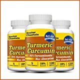 [3-bottle Pack] Turmeric Curcumin (100% Potent and Natural with Bioperine & Other Herbs) 120 Veggie Capsules 1000mg in Daily Serving