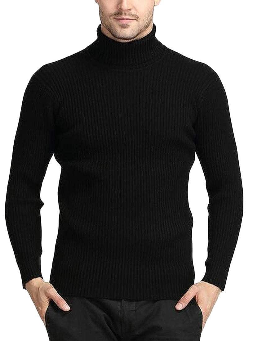 Jofemuho Mens Turtleneck Autumn Long Sleeve Slim Knitting Pullover Sweaters