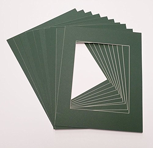 (Poster Palooza Hunter Green 11x14 White Picture Mats with White Core for 8x10 Pictures - Fits 11x14 Frame)