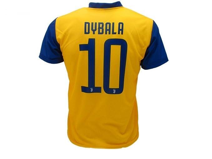 Camiseta de Fútbol Paulo Dybala 10 Juventus Away Amarillo-Azul Temporada 2017-2018 Replica Oficial con Licencia - Todos Los Tamaños NIÑO y Adulto: ...
