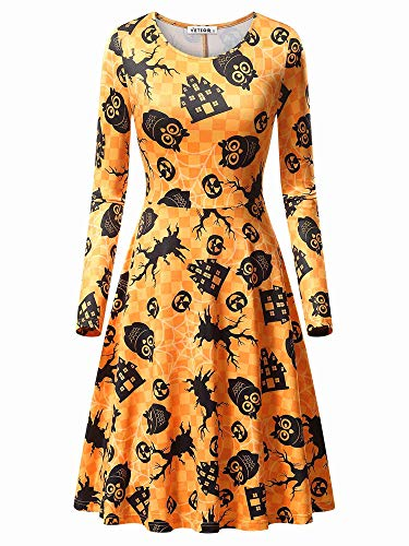 VETIOR Owl Dress, Women's Owl Spider Web Print Simple Design Orange Halloween Dress 17049-3 Large]()