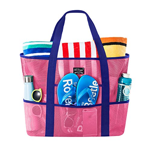 SoHo Collection, Mesh Beach Bag - Toy Tote Bag - Large Lightweight Market, Grocery & Picnic Tote with Oversized Pockets (Pink/Blue) -