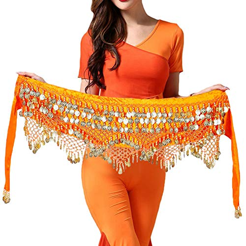 Hip Scarfs for Belly Dancing - Belly Dance Costume for Women with Coins Miavestar (Orange)