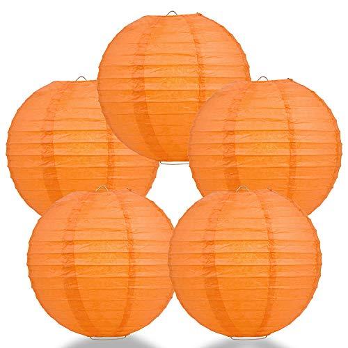 PaperLanternStore.com (5-Pack) 12 Inch Persimmon Orange Round Paper Lantern, Even Ribbing, Hanging ()