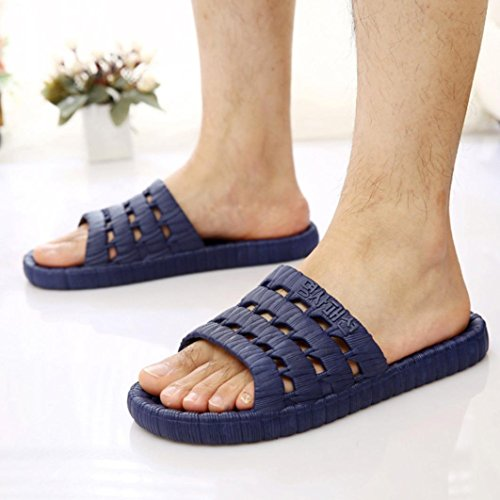 Morecome Mode Mannen Zomer Casual Platte Bad Slippers Outdoor Flats Antislip Massage Slippers Diepblauwe