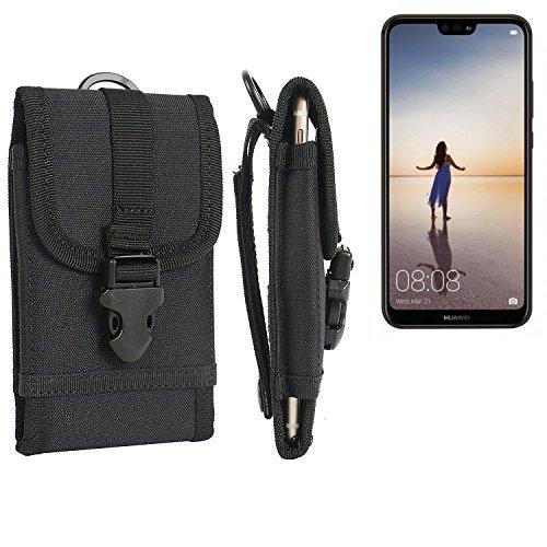 bolsa del cinturón / funda para Huawei P20 Lite, negro | caja del teléfono cubierta protectora bolso - K-S-Trade (TM)