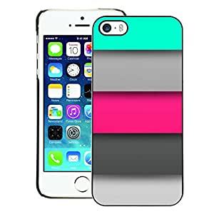 A-type Arte & diseño plástico duro Fundas Cover Cubre Hard Case Cover para iPhone 5 / 5S (Pastel Pink Grey Mint Green Lines Pattern)
