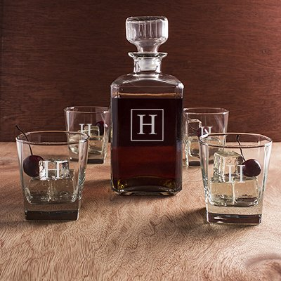 Engraved Whiskey Decanter & Glass 5pc Gift Set with Single Letter Initial Monogram
