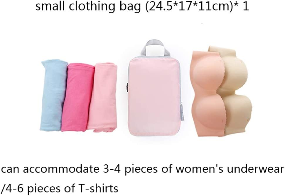 Color : Pink Zhijie-snd 5Pcs Waterproof Travel Storage Bags Packing Cube Clothes Pouch Luggage Organizer