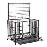 Walcut Heavy Duty Strong Metal Pet Dog Cage Crate Cannel Playpen w/Wheels (48.8'L x 33'W x 37' H-Silver)
