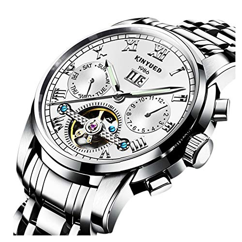 ess Men Automatic Watches Skeleton Tourbillon Hollow Mechanical Watch Stainless Steel Band ()
