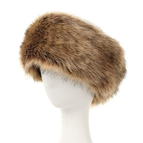 Faux Fur Headband for Women Winter Earwarmer Earmuff (Brown)