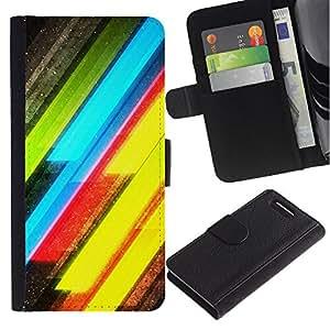 iKiki Tech / Cartera Funda Carcasa - Neon Lines Yellow Green Electric - Sony Xperia Z1 Compact D5503