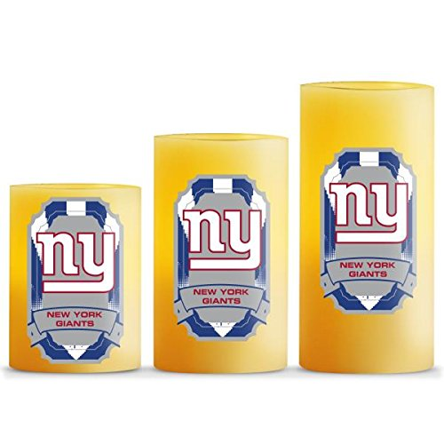 Giants Nfl Candle (NFL New York Giants LED Light Candle Gift Set (3 Piece), Small, White)
