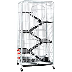 Yaheetech 6 Level Large Ferret Cage Small Animal Hutch with Wheels White