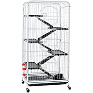 Yaheetech 6 Level Large Ferret Cage and Habitats Small Animal Hutch with 3 Front Doors 52''-White