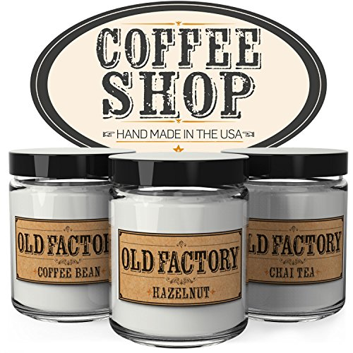 Old Factory Scented Candles - Coffee Shop - Set of 3: Coffee Bean, Hazelnut, and Chai Tea - 3 x 4-Ounce Soy Candles - Each Votive Candle is Handmade in the USA with only the Best Fragrance Oils