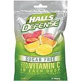 HALLS Defense Sugar Free Vitamin C Supplement Drops (Assorted Citrus, 25 Drops, 12 Pack, 300 Drops Total)