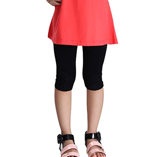 63741c2ee37d9d Candy Color Kids Girl Cotton Tight Leggings Children Summer Cropped Capris  Pants (Asian S,