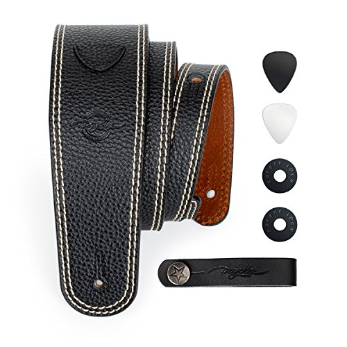 POYOLEE Leather Guitar Strap for Acoustic Electric and Bass Guitar with Pick Holder Non-Slip and Adjustable (Extra Long, Black) ()