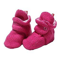 Zutano Girls Cozie Fleece Baby Booties - Fuchsia Pink - 12M