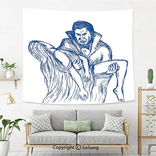 SoSung Vampire Wall Tapestry,Count Dracula in Cape Carrying His Prey Victim Woman Sketchy Halloween Artwork,Bedroom Living Room Dorm Wall Hanging,60X40 Inches,Blue and White]()