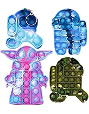 AIPILER Push Pop Bubble Fidget, Bubble Sensory Fidget Toy Stress Relief Silicone Pressure Relieving Toys for Kids and Adults, 4 Pcs(Big and Small Key Chains Camouflage Blue+ Big Green)