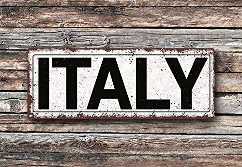 Pealrich Italy Metal Street Sign, Rustic, Vintage ()