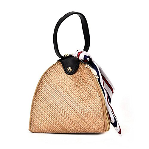 Cobblesands Straw Triangle Clutch Scarves Straw Clutch Triangle Mini Tote Simple Beach Small Knitting Bag Fashion Shoulder Messenger Bag Beach Wave (Wave Knitting Bag)