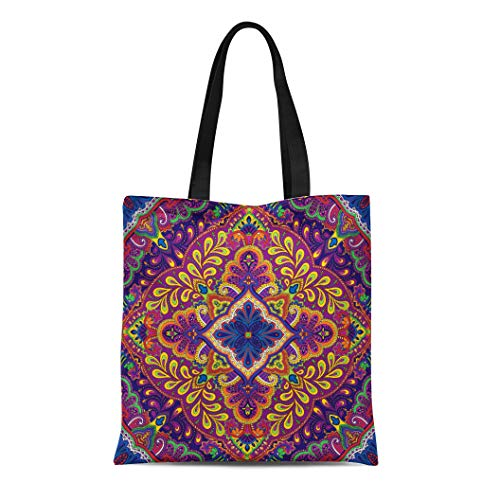 Semtomn Canvas Tote Bag Shoulder Bags Pattern Floral of Paisley Kerchief Vintage India Abstract Clip Women's Handle Shoulder Tote Shopper Handbag ()