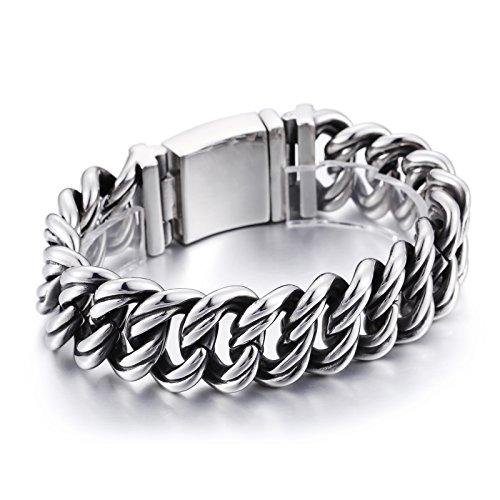 Mens bracelet BlueFox Titanium Stainless steel Biker Link bracelet polished silver,8.6inch