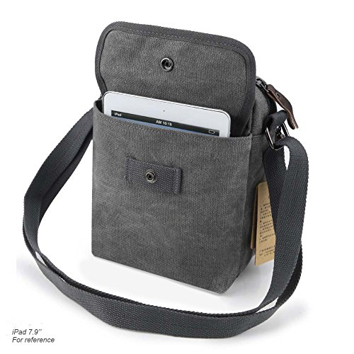 Grey Retro Classic Bag Koolertron Ipad Boy 17 Men's Sports Small Strap Mini Over Canvas Zipped Phone 17 5x21x10cm black 5x21x10cm lxhxw Long Lightweight For Shoulder lxhxw wEIIBxqX