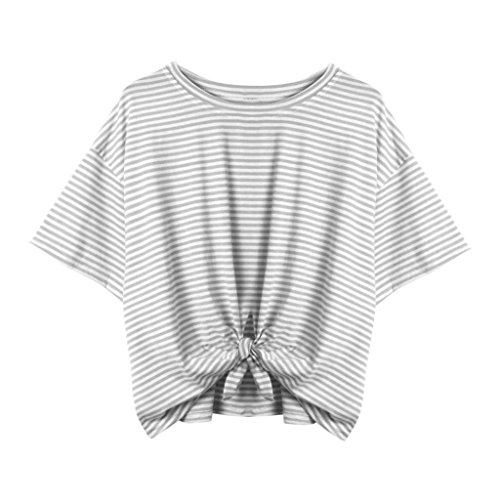on Women Striped Short O Neck Bandage Casual T-Shirt Tops (Sleeve Striped Henley Hoodie)