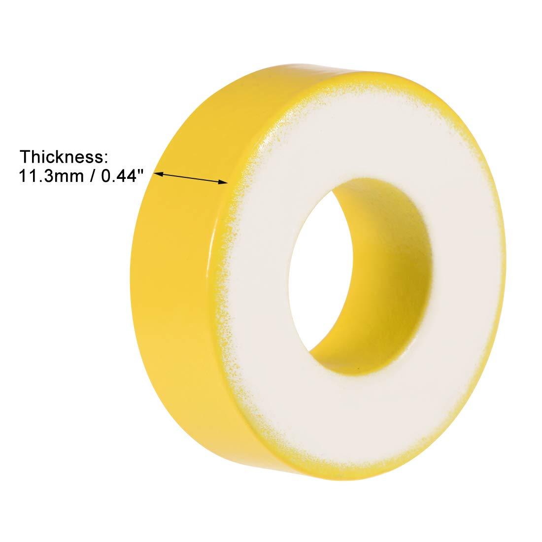 Yellow White 2pcs Ferrite Chokes Ring Iron Powder Inductor Ferrite Rings 8.2 x 15.5 x 6.2mm uxcell Toroid Core