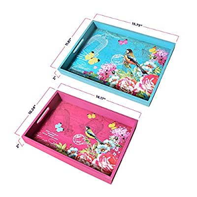 Mehousa Flat Serving Tray Set of 2 | Eco-Friendly MDF Construction | Elegant & Colorful Serve Trays | Decorative Rectangular Trays for Carrying Breakfast, Dinner, Beverages & More (Large & Small)