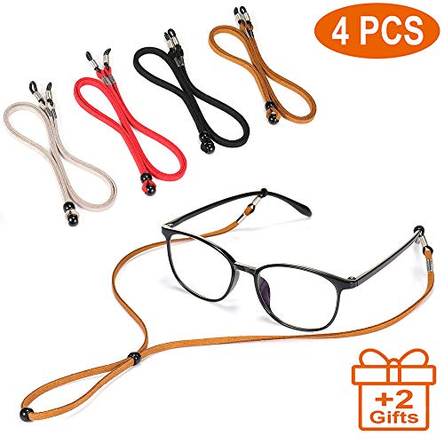 4PCS Premium Leather Eyeglass Straps, Adjustable Eyewear Retainers, Non-slip Eyeglass Chains Lanyard, Sport Sunglass Retainer Holder Strap, Free Gift Glasses Cloth and Screwdriver