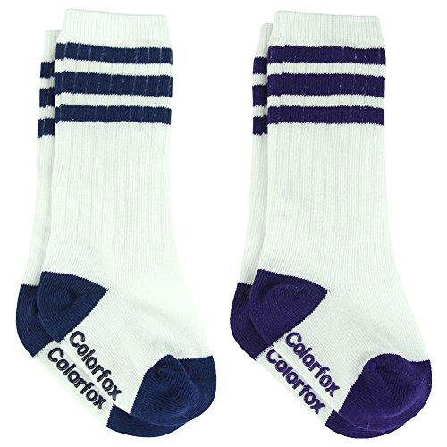 Infant Baby Girl Boy Socks, Anti-slip Striped Knee High Long Socks Blue Purple 6-12 Months Colorfox,2 Pairs