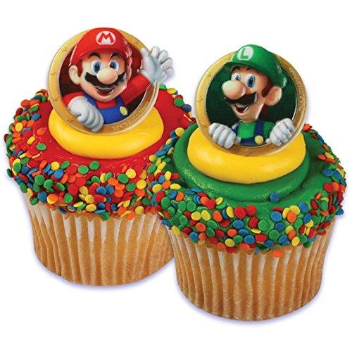 Super Mario Bros Luigi 24 Cupcake Rings Bag Fillers Birthday Party Favors (Best Bro Rings)