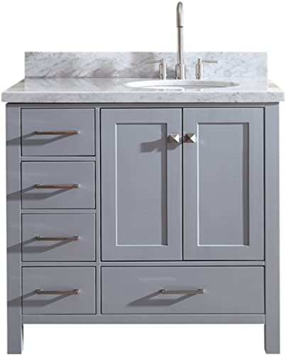 ARIEL Cambridge A037S-R-VO-GRY 37 Inch Single Right Offset Oval Sink Solid Wood Grey Bathroom Vanity Cabinet with 1.5 Inch Edge White Carrara Marble Countertop and Backsplash