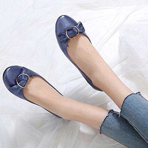 Mocasines De Ballet De Moda Para Mujeres Pisos Slip On Glitter Bow Punta Estrecha Vestido Clásico Casual Zapatos Azul