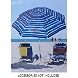 Tommy Bahama Sand Anchor 7 feet Beach Umbrella with Tilt and Telescoping Pole (Blue/White)